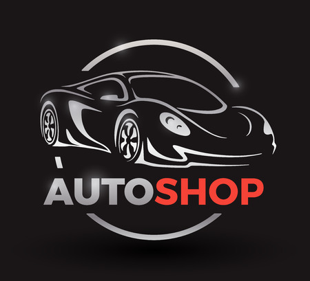 auto shop: Original motor car concept design of a sports car vehicle with emblem silhouette auto shop on black background. illustration. Illustration
