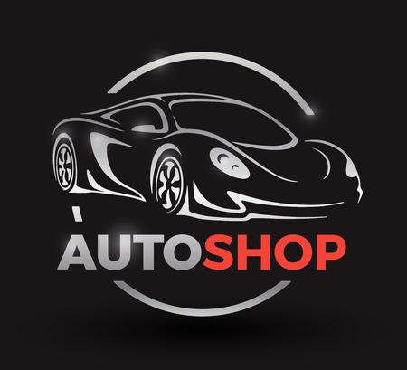 motor car: Original motor car concept design of a sports car vehicle with emblem silhouette auto shop on black background. illustration. Illustration