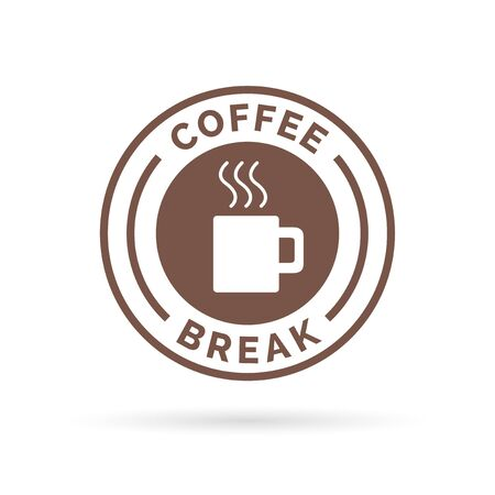 Coffee break time badge sign with brown steaming coffee mug icon silhouette. illustration.