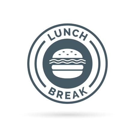 almuerzo de comida rápida señal de ruptura de placas con un icono de la silueta de la comida hamburguesa. ilustración.
