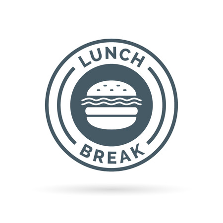 Fastfood lunch break badge sign with a cheeseburger meal icon silhouette. illustration. Vectores