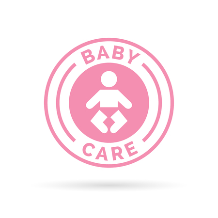 infant: Baby day care badge sign with pink infant baby icon silhouette. illustration.