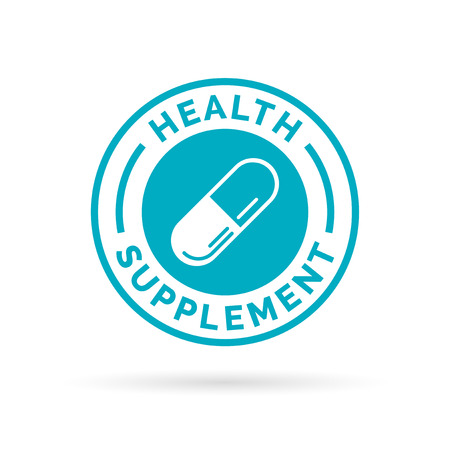 Medical health supplement sign badge with blue capsule pill stamp icon. illustration.