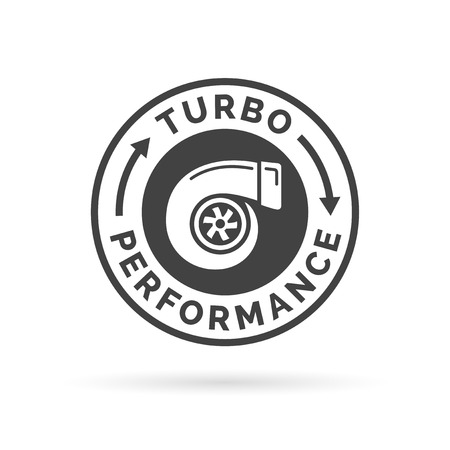 tuned: Turbo performance icon badge with car turbocharger compressor stamp symbol. illustration. Illustration