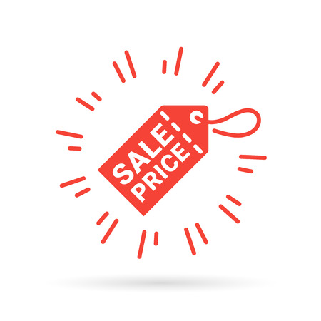 discount tag: Red tag with Sale Price sign. Sale tag icon. Sale discount price symbol on red label. Vector illustration.