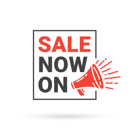 announced: Red sale now on discount banner with loudspeaker icon. Sale announcement sign. Promo banner with red megaphone symbol. Vector illustration.