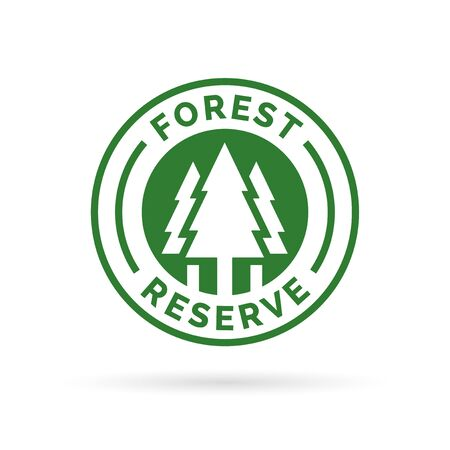 forest conservation: Forest reserve icon badge. Protected forest sign. Tree silhouette symbol. Forest conservation icon in green emblem isolated on white background. Vector illustration.