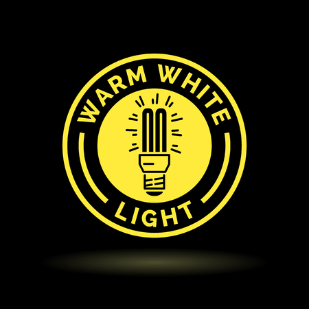 cfl: Warm white fluorescent light bulb icon. Warm white CFL lightbulb sign. Warm white light symbol. Warm white fluorescent lightbulb icon in yellow emblem on black background. Vector illustration.