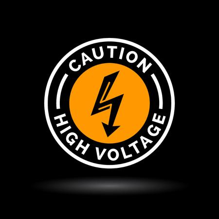 sign orange: Caution high voltage sign. Electrical hazard arrow icon. Danger electric shock strike symbol. Electric bolt icon in orange circle emblem on black background. Vector illustration. Illustration