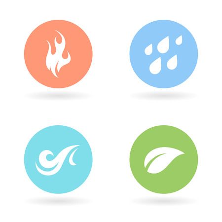 fire water: The four natural elements colour circle icons - Earth, Water, Fire and Air symbols. Vector illustration. Illustration
