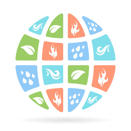 wind: The four natural elements icons - Earth, Water, Fire and Air on concept planet symbol. Vector illustration.