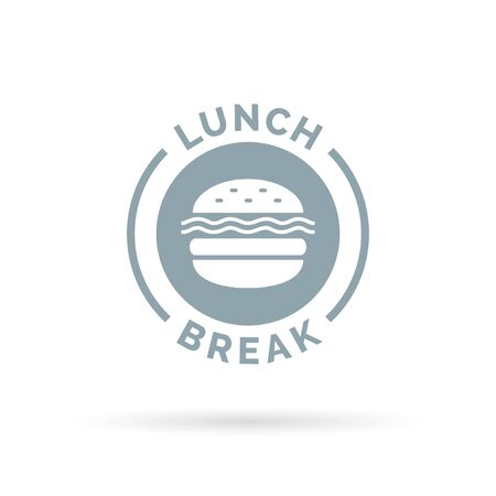 lunch break: Fastfood lunch break badge sign with a cheeseburger meal icon silhouette. Vector illustration. Illustration