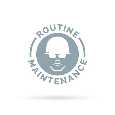 hardhat icon: Routine maintenance contractor icon. Construction worker with hardhat sign. Vector illustration.