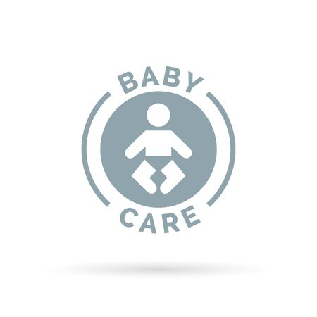 child care: Baby day care sign with infant child icon silhouette. Vector illustration.