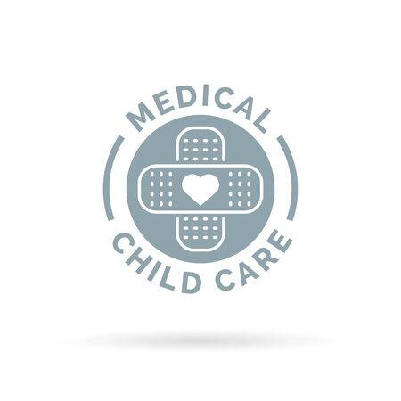 care symbol: Medical child care symbol with heart and plaster bandage icon. Vector illustration.