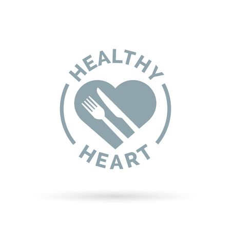 diet food: Healthy heart icon concept with knife and fork silhouette sign. Vector illustration.