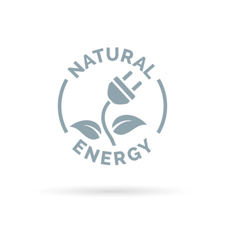 natural energy: Natural eco energy icon with electric plug, plant and leaf symbols. Renewable self sufficient natural electricity sign. Vector illustration.