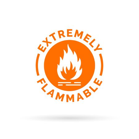 extremely: Extremely flammable icon. Fire hazard sign. Caution fire symbol. Vector illustration.