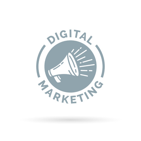 Digital marketing symbol with promotion megaphone annoncement icon. Vector illustration.