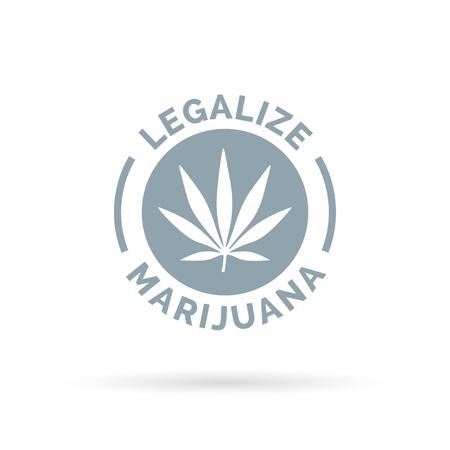 legalize: Legalize marijuana icon with cannabis leaf symbol. Vector illustration. Illustration