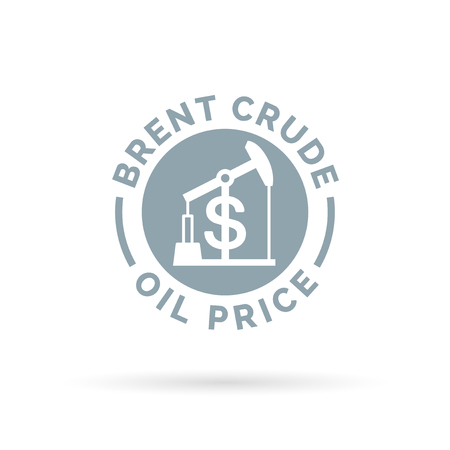 brent crude: Price of brent crude oil icon with oil pump symbol and dollar sign. Petrolgas trade cost. Vector illustration. Illustration