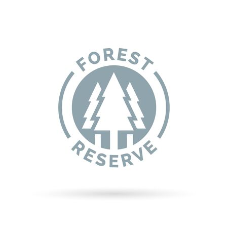 forest conservation: Forest reserve icon. Forest conservation sign. Trees silhouette symbol. Vector illustration.