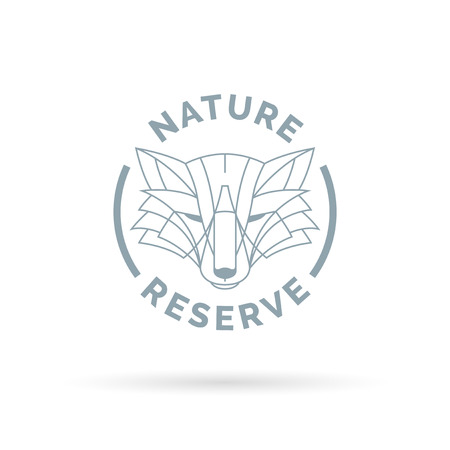 wildlife reserve: Wildlife park nature reserve icon with wild fox line symbol. Vector illustration.
