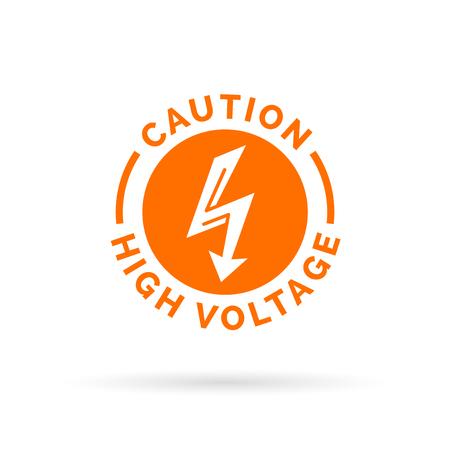 descarga electrica: Precauci�n signo de alta tensi�n. El�ctrica icono de flecha de peligro. S�mbolo de peligro de descarga el�ctrica. Ilustraci�n del vector.