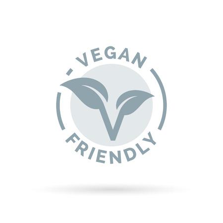 Diseño del icono de vegetariana. signo concepto vegana. símbolo de la hoja vegana. Ilustración del vector.