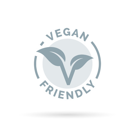Vegan friendly icon design. Vegan concept sign. Vegan leaf symbol. Vector illustration. 矢量图像