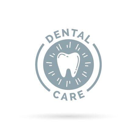 dental health: Oral hygiene dental care sign with healthy teeth icon. Vector illustration. Illustration
