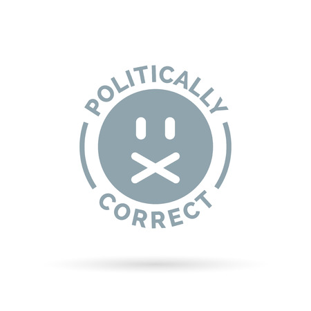 censorship: Politically Correct icon. Political correctness symbol. Censorship of the freedom of speech sign. Vector illustration. Illustration