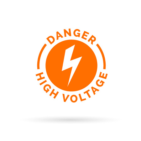 voltage sign: Danger high voltage sign. Electrical hazard icon. Caution electric shock symbol. Vector illustration.
