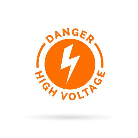 descarga electrica: signo de alta tensi�n peligro. icono de peligro el�ctrico. S�mbolo de precauci�n descarga el�ctrica. Ilustraci�n del vector. Vectores