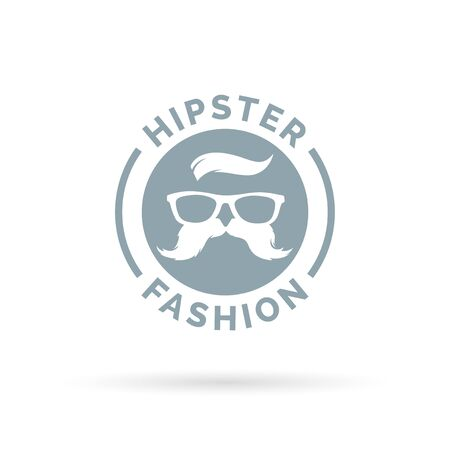 fashion glasses: Hipster fashion icon emblem with hippie glasses and mustache symbol. Vector illustration.