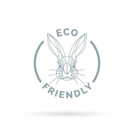 friendly: Eco bio and animal friendly icon with rabbit line symbol. Vector illustration.