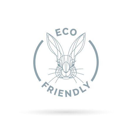 nontoxic: Eco bio and animal friendly icon with rabbit line symbol. Vector illustration.