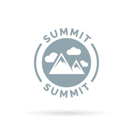 peak: Summit icon with mountain peak silhouette symbol. Vector illustration. Illustration