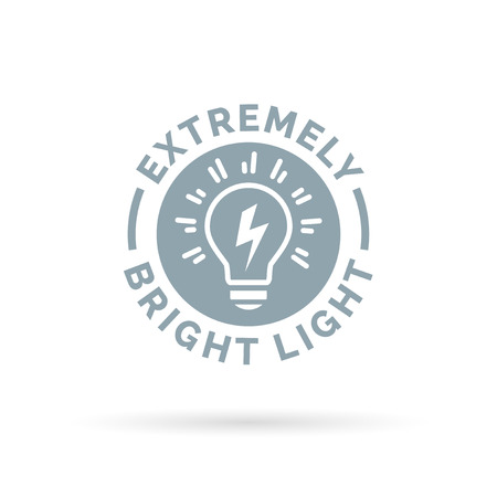 lumens: light bulb icon extremely bright and powerful torch symbol design. Vector illustration.