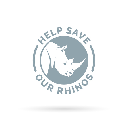 endangered: Help save and protect our endangered Rhinos from illegal hunting icon sign. Vector illustration. Illustration