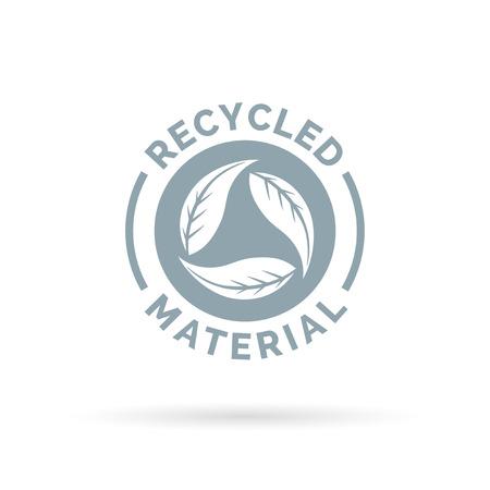 residuos organicos: Reciclado icono de material del producto. Los materiales reciclados firman con la circular deja símbolo. Ilustración del vector.