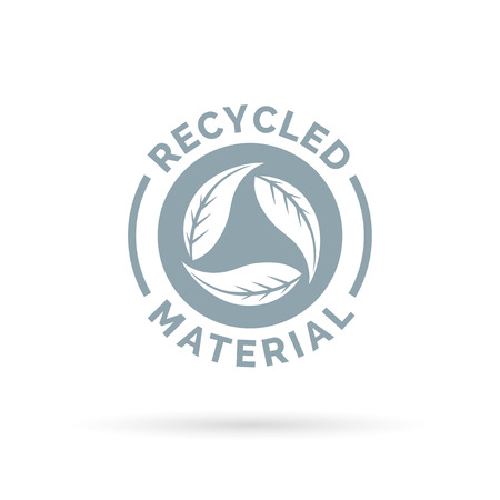 Riciclata icona del materiale prodotto. I materiali riciclati firmare con circolare lascia simbolo. Illustrazione vettoriale. Vettoriali
