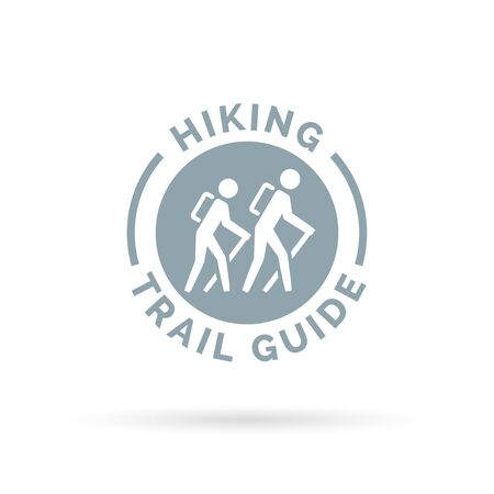 walking trail: Hiking trail guide symbol with hikers icon. Vector illustration.