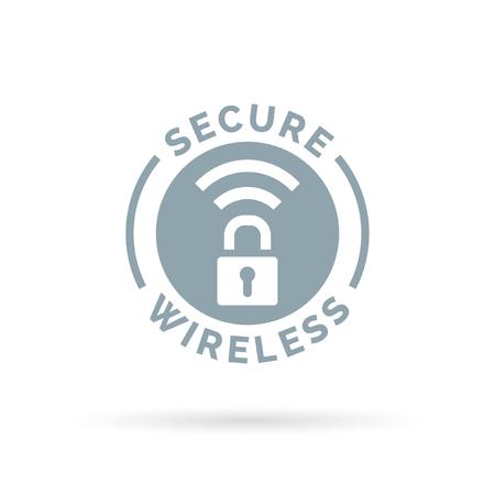 hotspot: Secure wireless icon with grey padlock and wifi hotspot symbol. Vector illustration. Illustration