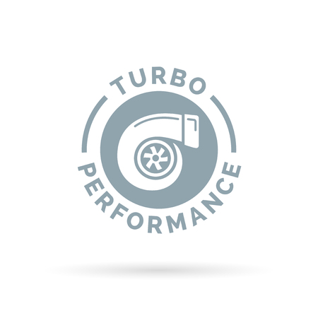 turbo: Turbo performance boost icon with turbocharger compressor symbol. Vector illustration.