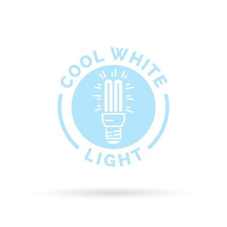 cfl: Cool white fluorescent CFL light symbol. Light blue lightbulb icon. Vector illustration.