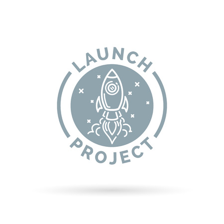new start: Launch new start up project icon with grey flying space rocket button symbol. Vector illustration.