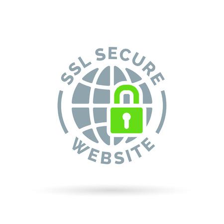 セキュリティで保護された SSL web サイト アイコン。セキュリティで保護された大域シンボル。緑色の錠前アイコンと灰色の世界に孤立した白い背景