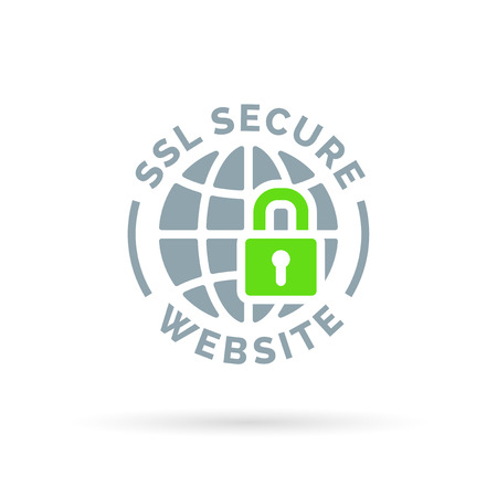 Secure SSL website icon. Secure global symbol. Grey globe with green padlock sign isolated on white background. Vector illustration. Vettoriali