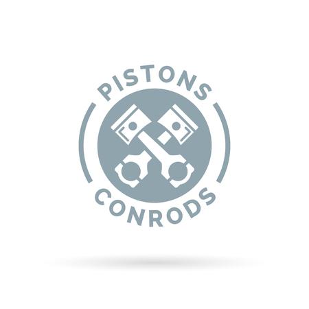 motor car: Pistons and conrods icon. Vehicle engine sign. Vehicle workshop symbol. Grey circle on white background. Vector illustration.
